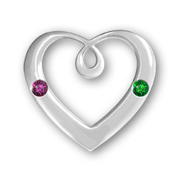Personalized Birthstone Heart Pendant 2 Stones Image