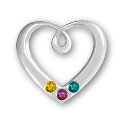 Personalized Birthstone Heart Pendant 3 Stones Image