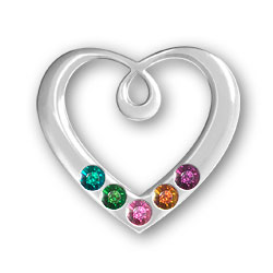 Personalized Birthstone Heart Pendant 5 Stones Image