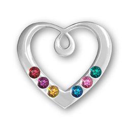 Personalized Birthstone Heart Pendant 6 Stones Image