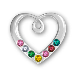 Personalized Birthstone Heart Pendant 7 Stones Image