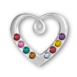 Personalized Birthstone Heart Pendant 8 Stones Image