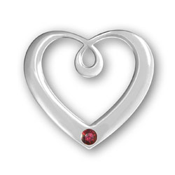 January Birthstone Heart Pendant Image