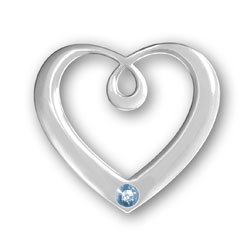 March Birthstone Heart Pendant Image