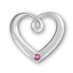 October Birthstone Heart Pendant Image