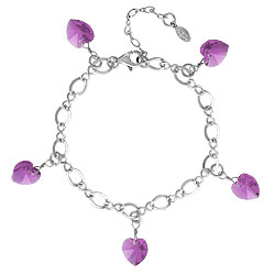 Amethyst Bracelet With Crystal Hearts Image
