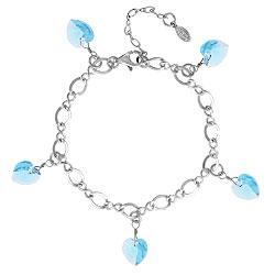 Aquamarine Crystal Heart Charm Bracelet Image