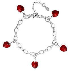 Garnet Bracelet With Crystal Hearts Image