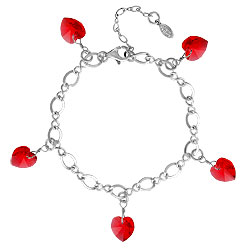 Siam Crystal Heart Charm Bracelet Image