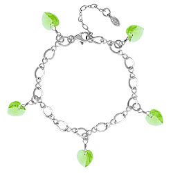 Peridot Bracelet With Crystal Hearts Image