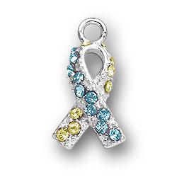 Yellow And Blue Crystal Ribbon Charm Image