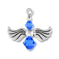 Silver Angel Charm With Sapphire Glass Beads Image