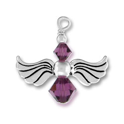 Silver Angel Charm With Amethyst Glass Beads Image