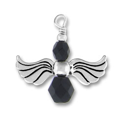 Silver Angel Charm With Black Glass Beads Image