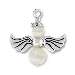 White Silver Angel Charm Image