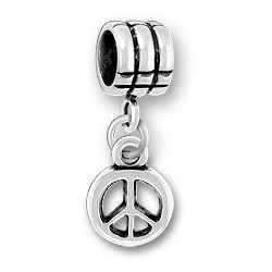 Luv Link Bead With Peace Sign Image