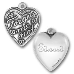 Twilight Inspired Edward Forget Me Not Heart Charm Image