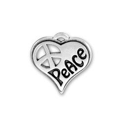 Small Peace Heart Charm Image