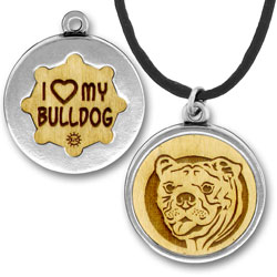 Wooden Bulldog Charmpendant Image
