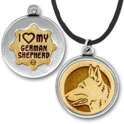 Wooden German Shepherd Charmpendant Image