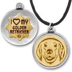 Wooden Golden Retriever Charmpendant Image