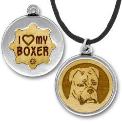 Wooden Boxer Floppy Ears Charmpendant Image