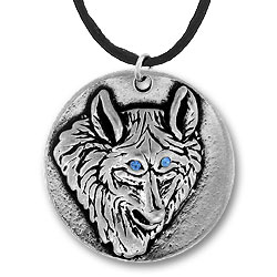 Wolf Pendant With Blue Eyes Image