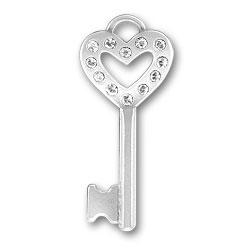 Clear Heart Key Charm Image