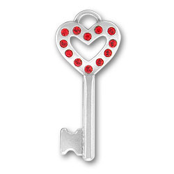 Red Heart Key Charm Image
