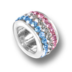 Pink White And Blue Crystal Bead Image