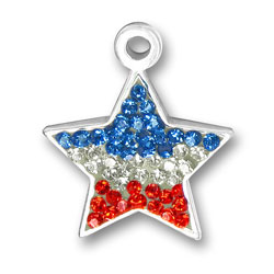 Red White And Blue Crystal Star Charm Image
