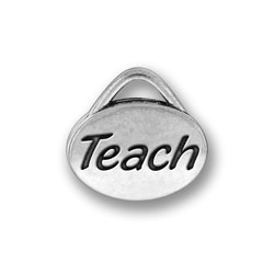 Pewter Teach Oval Charm Image