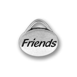 Pewter Friends Oval Charm Image