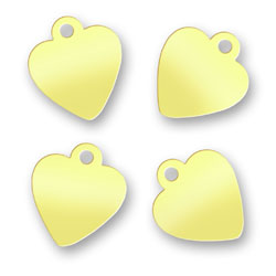 Blank Brass Heart Tags 92mm X 105mm Image