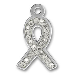 Pewter Crystal Ribbon Charm Image