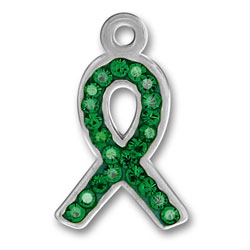 Pewter Green Crystal Ribbon Charm Image