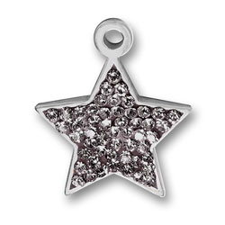 Pewter Black Diamond Crystal Star Charm Image