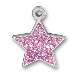 Pewter Pink Crystal Star Charm Image
