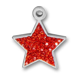 Pewter Red Crystal Star Charm Image