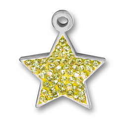Pewter Yellow Crystal Star Charm Image