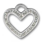 Pewter Crystal Heart Charm Image