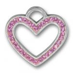 Pewter Pink Crystal Heart Charm Image
