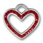 Pewter Red Crystal Heart Charm Image