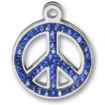 Pewter Blue Crystal Peace Sign Charm Image