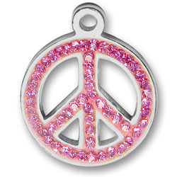 Pewter Pink Crystal Peace Sign Charm Image