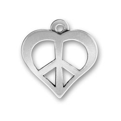 Pewter Peace And Love Cutout Charm Image