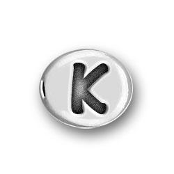 Round Pewter K Bead Image