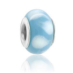Blue Design Lampwork Glass Bead Image