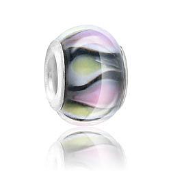 Pink White Black Lampwork Glass Bead Image