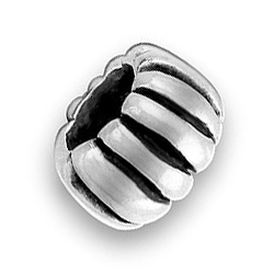 Pewter Ribbed Bead Image